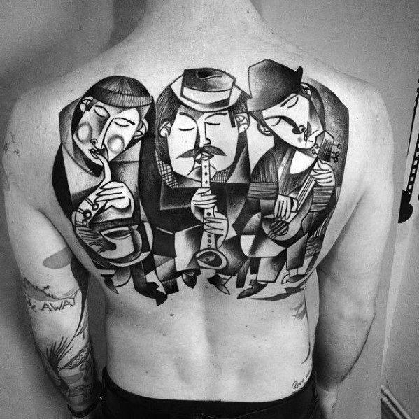 Back Male Cool Cubism Tattoo Ideas