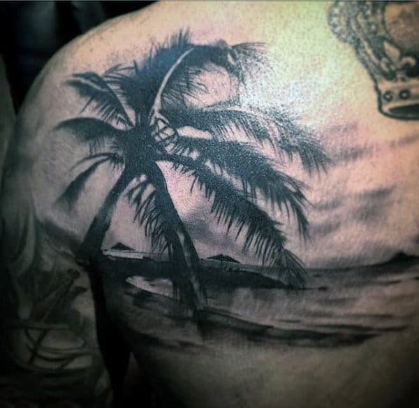 Back Male Dark Palm Tree Art Tattoo