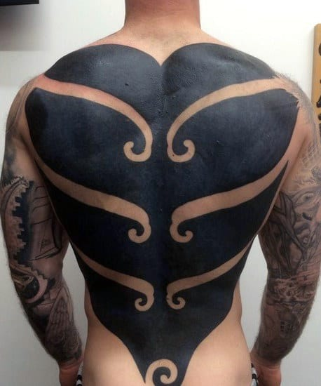 Back Male Tattoos Tribal Blackwork With Negative Space Ideas