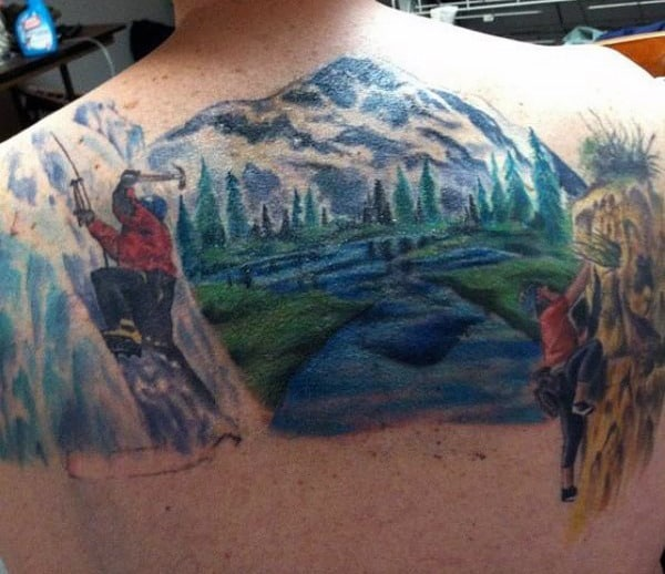 Back Masculine Mountain Tattoo For Men