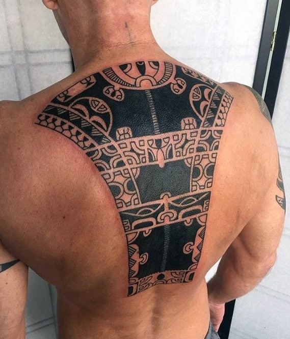 Back Mens Badass Tribal Tattoo Design Inspiration