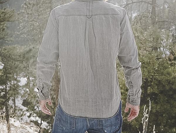 Back Mens Button Down Denim Dakota Grizzly Gray Ryder Shirt Review