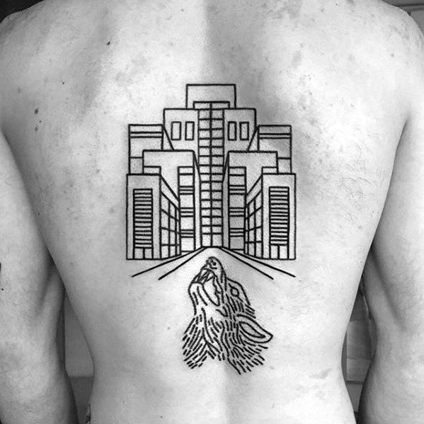 Back Mens Cool Simple Buildings With Howling Wolf Tattoo