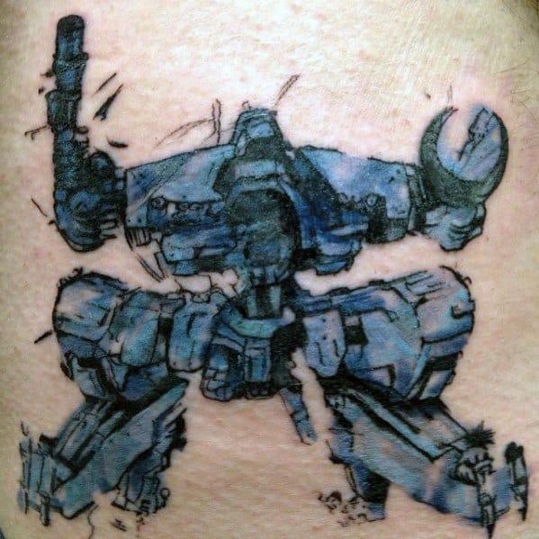 Back Mens Metal Gear Tattoo Design Ideas