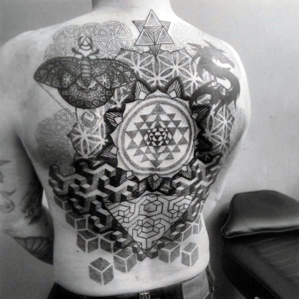 Back Mens Pattern Pointillism With Flower Of Life Design