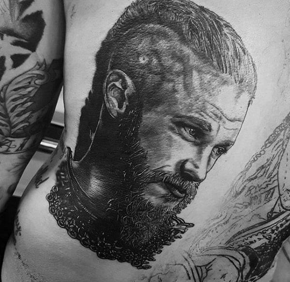 Back Mens Tattoo Ideas With Ragnar Design