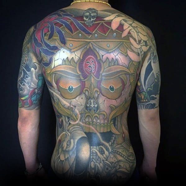 back-mens-tibetan-skull-tattoo-design-inspiration