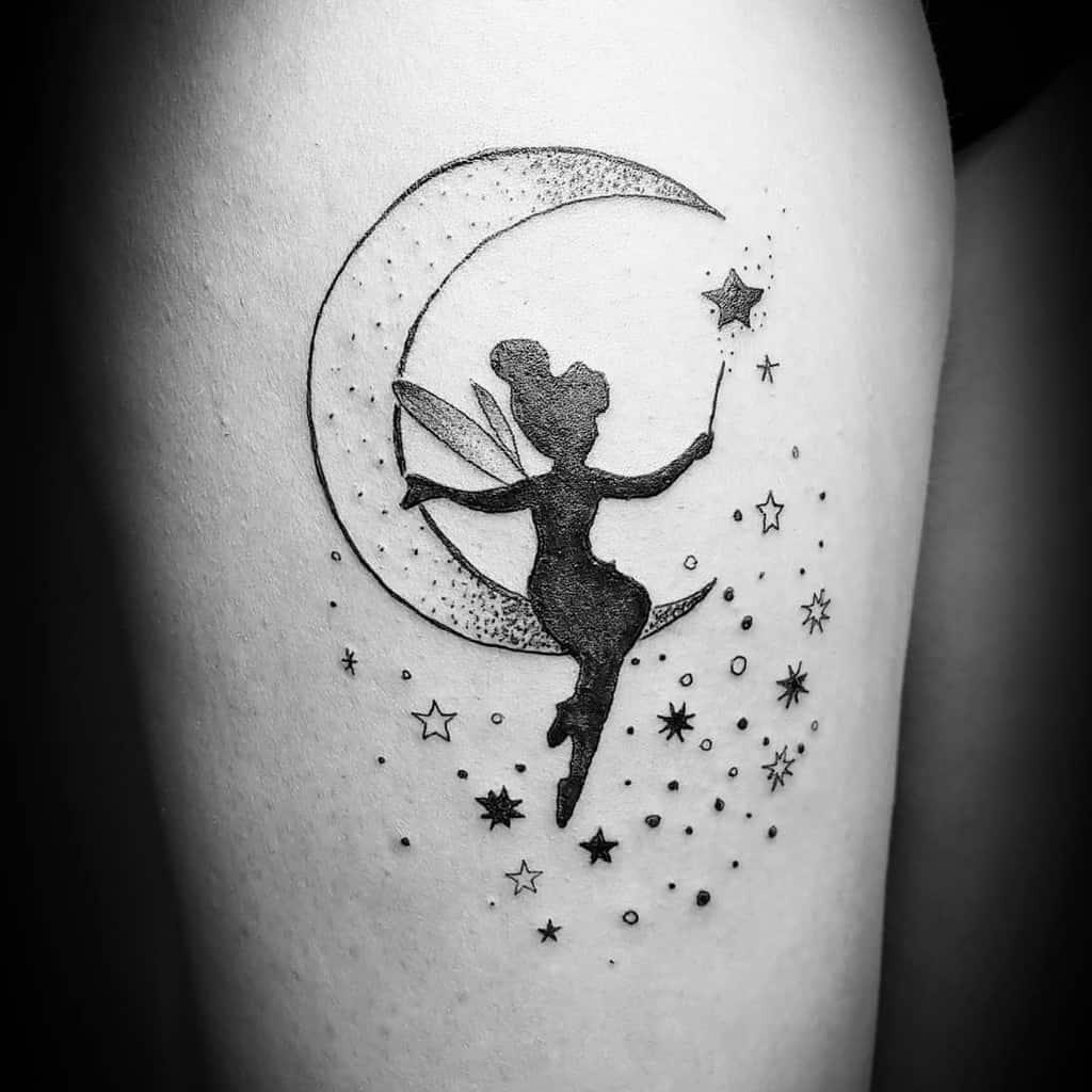 Back Moon Stars Cute Little Fairy Tattoo