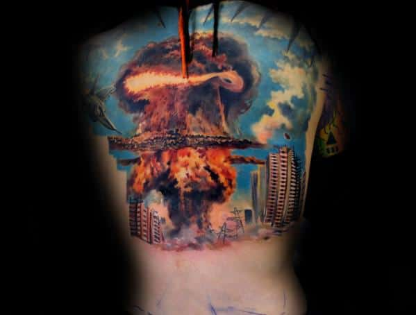 Back Mushroom Cloud Guys Tattoos