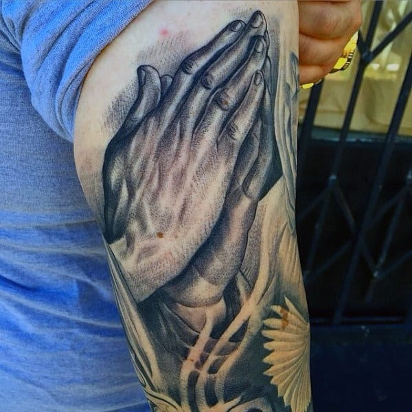 Back Of Arm Best Praying Hands Mens Tattoos