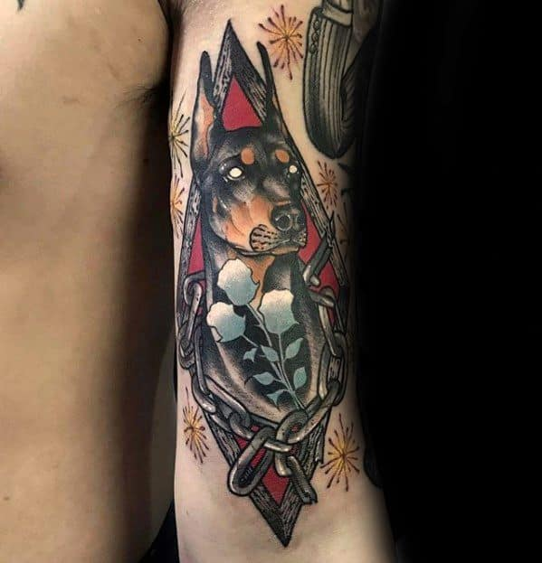 Back Of Arm Doberman Tattoo Design Ideas For Males