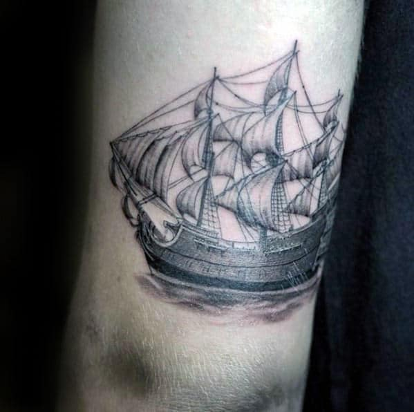 Back Of Arm Guys Vintage Sailing Ship Tattoo
