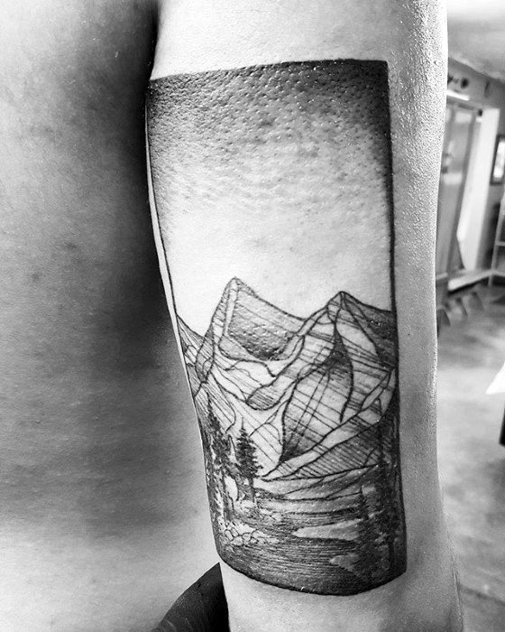 Back Of Arm Nature Male River Tattoo Design Inspiration