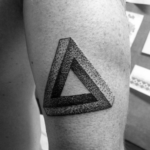 Back Of Arm Penrose Triangle Tattoo Ideas For Males