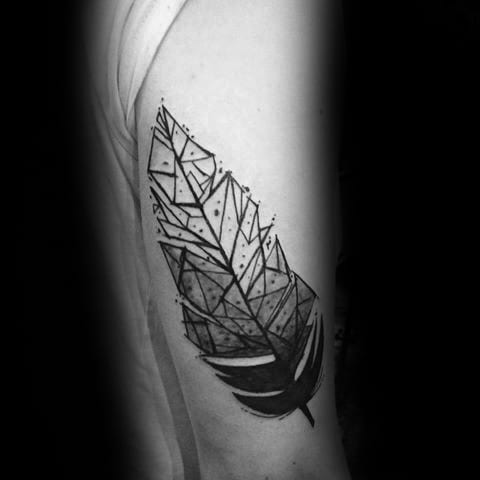 Back Of Arm Tricep Geometric Feather Tattoos For Gentlemen