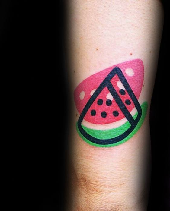 Back Of Arm Tricep Simple Modern Watermelon Tattoo Designs For Guys