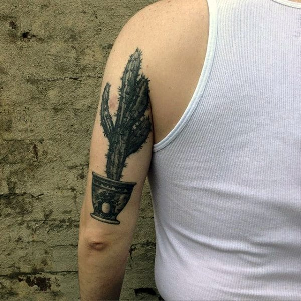Back Of Arm Triceps Mens Realistic Black Ink Cactus Tattoo Design