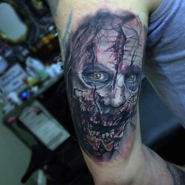 Back Of Arm Zombie Face Mens Tattoos