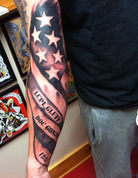 Back Of Forearm Guy With Eagle Tattoos With American Flag