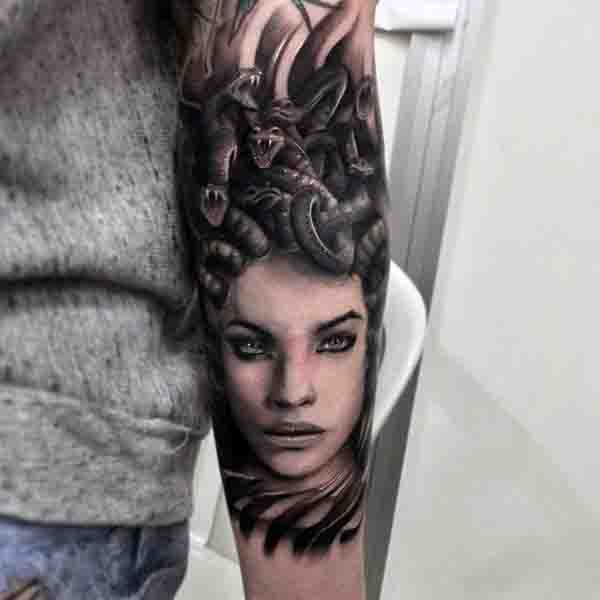 Back Of Forearm Mens Medusa Tattoo Design