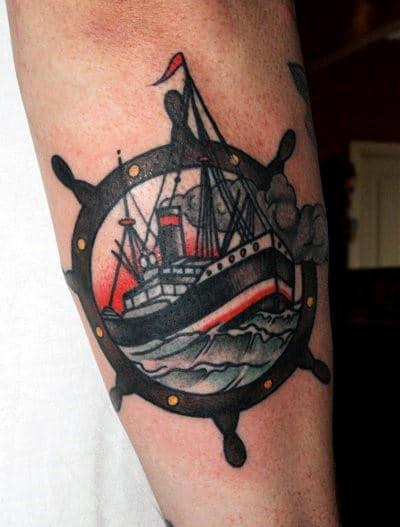 Back Of Forearm Mens Ships Wheel Tattoos
