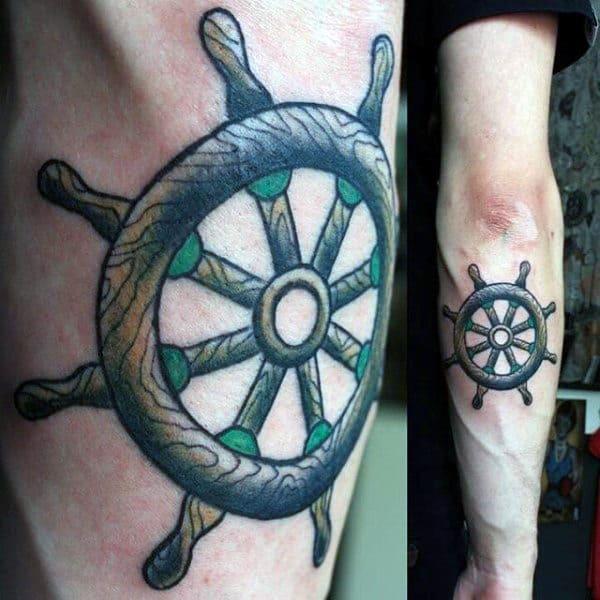 Back Of Forearm Mens Tattoo Of Ship Wheel