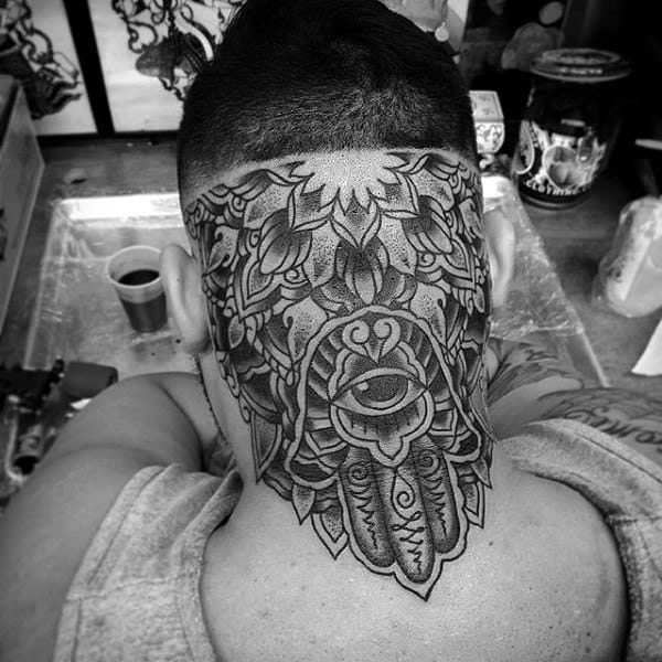 Back Of Head And Neck Hamsa Mens Tattoos