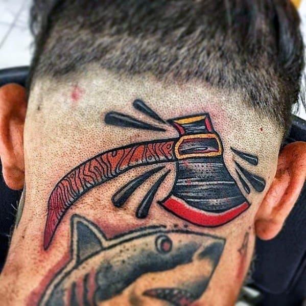 Back Of Head Axe Tattoo Design On Man