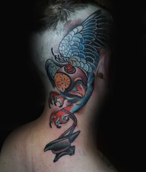 Back Of Head Falcon Attached To Anvil Mens Tattoo Designs