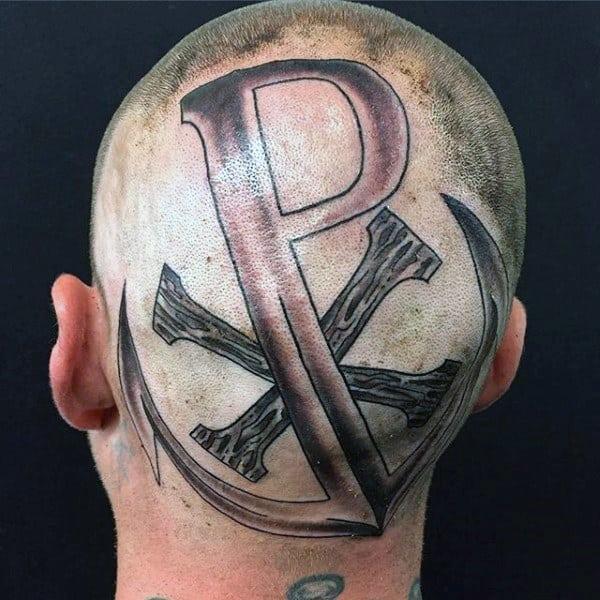 Back Of Head Mens Chi Rho Anchor Tattoos
