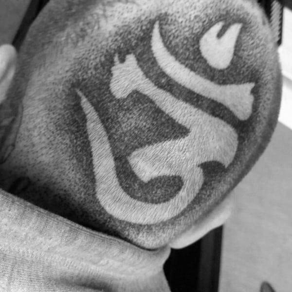 Back Of Head Om Mens Tattoos