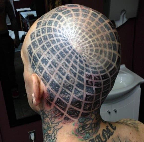 Back Of Head Portal Optical Illusion Mens Tattoo