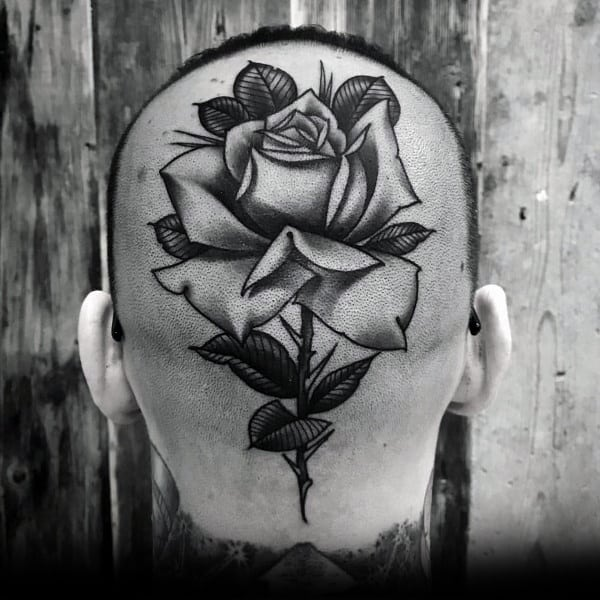 Back Of Head Rose Flower Mens Coolest Tattoos