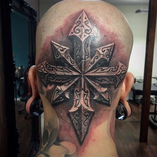 Back Of Head Stone Tattoo For Guys