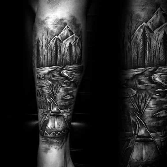 Back Of Leg Artistic Male Camping Tattoo Ideas