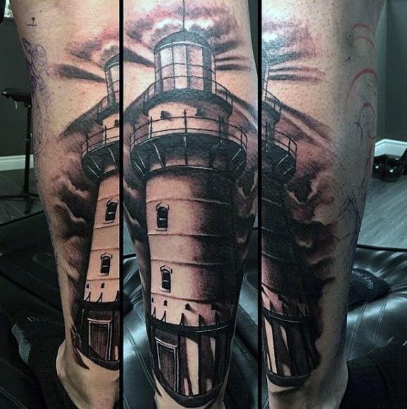 Back Of Leg Black Lighthouse Guys Tattoos