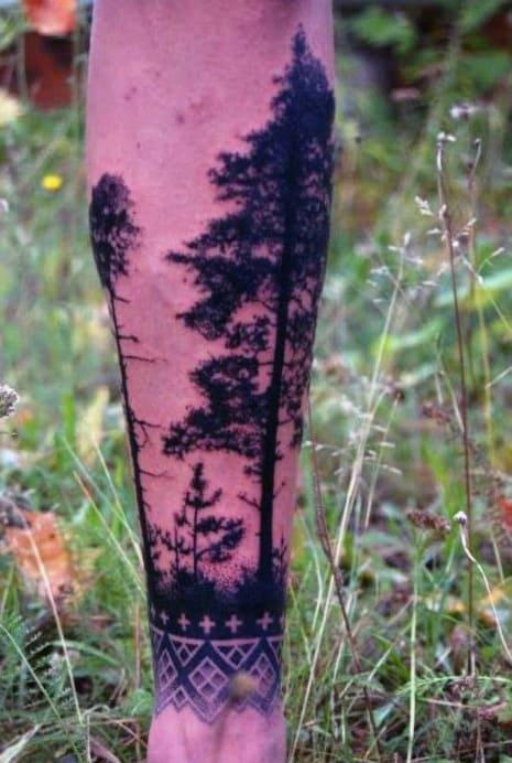 Back Of Leg Black Pine Tree Men's Tattoo