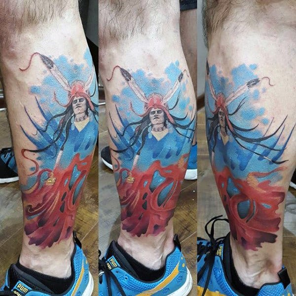 Back Of Leg Blue Flames Tattoos Designs On Man