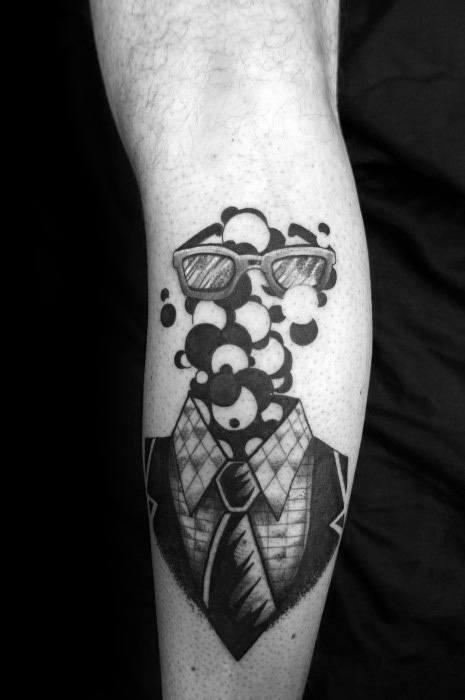 Back Of Leg Bubble Mens Tattoo Ideas