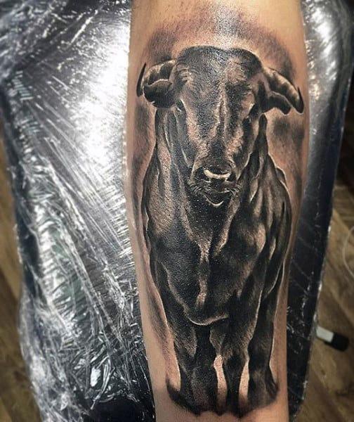 Back Of Leg Bull Tattoo For Men