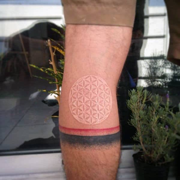 Back Of Leg Calf Circle Pattern White Ink Abstract Male Tattoos