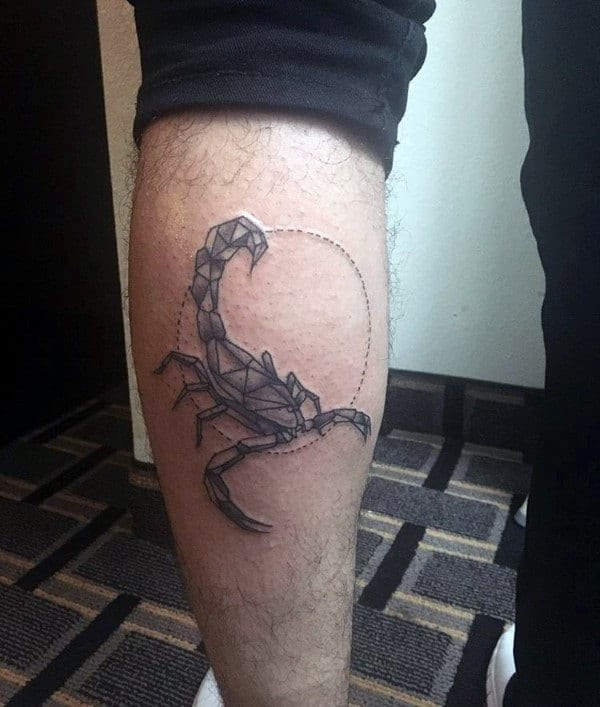 Back Of Leg Calf Circular Scorpio Mens Tattoo Ideas