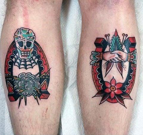 Back Of Leg Calf Guys Traditional Horseshoe Tattoo Design Ideas