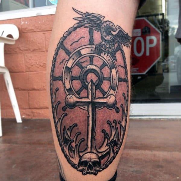 Back Of Leg Calf Male Ship Wheel And Anchor Tattoos
