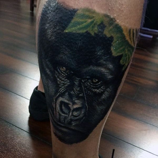 Back Of Leg Calf Mens Blackback Gorilla Tattoo Ideas