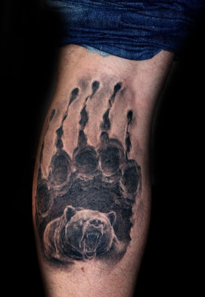Back Of Leg Calf Mens Realistic Bear Claw Tattoo Ideas