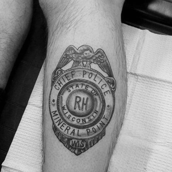 Back Of Leg Calf Old School Cheif Police Badge Guys Tattoos