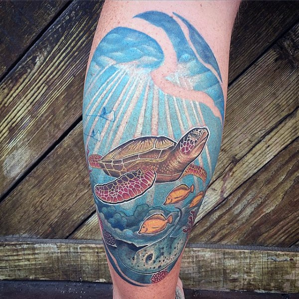 Back Of Leg Calf Turtle And Salt Water Fish Tattoos For Males