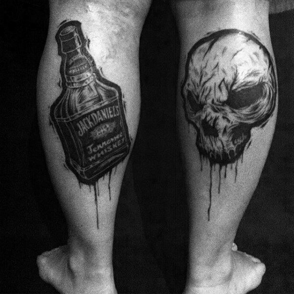 Back Of Leg Calf With Skull And Jack Daniels Bottle Guys Tattoos