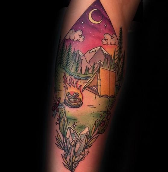Back Of Leg Camping Guys Tattoo Designs